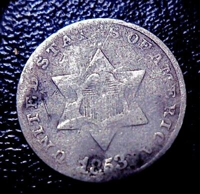 """Rare Old 1853 3 Cent Silver 3C Piece """"trime"""" Old Type Coin In Nice Condition"""