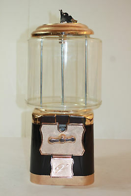 New Lockable Black Gold Tone Classic Style Gumball Candy Vending Machine
