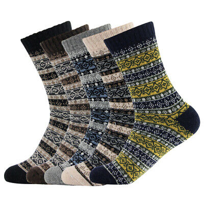 Men  5 Pairs Warm Winter Thick wool Mixture Cashmere Casual Socks US 7-11