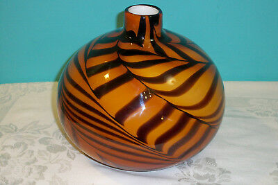 Murano Style Round Vase Amber Brown Tiger Stripes Large Art Glass Hand Blown