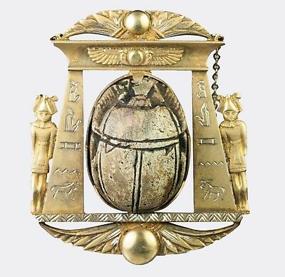 Ancient Egyptian Large Steatite Scarab Pendant Decorated With A Figure Of Bes