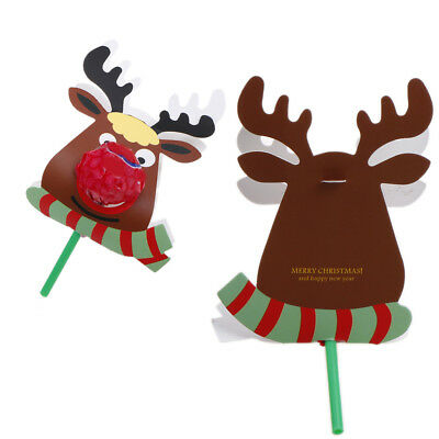 25x Reindeer Lollipop Paper Card Decoration Xmas Candy Decor Gift For Kids PopWH