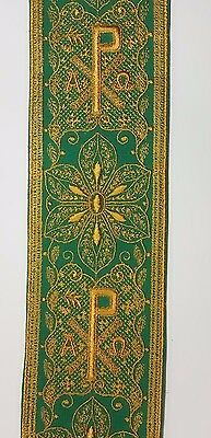 """Vintage Religious A&O Chi Rho Design Copper Gold on Green Banding 3"""" wide C147"""