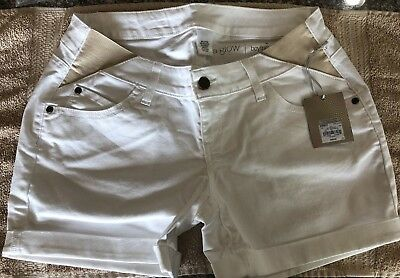 NWT MSRP $40 Maternity a:glow Inset Elastic Panel Cuffed Jean Shorts White Size6