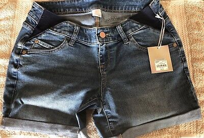 NWT MSRP $40 Maternity a:glow Inset Elastic Panel Cuffed Jean Shorts Size 6