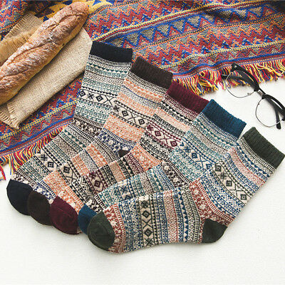 1 & 3 Pairs Men Women Wool Cashmere Design Warm Soft Thick Casual Winter Socks