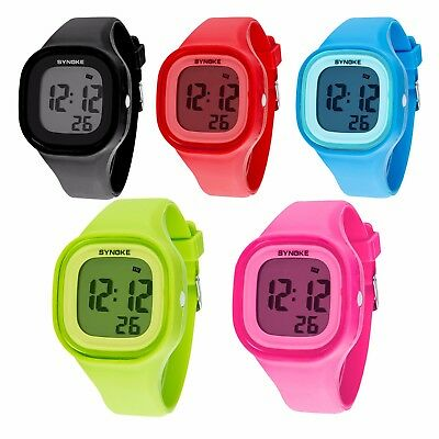SYNOKE Kids Boys Girls Gift LED Sports Digital Electronic Wrist Watch Waterproof