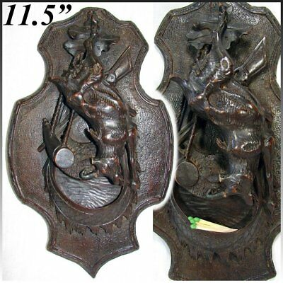 "Antique Black Forest Carved 11.5"" Figural Hunt Themed Wall Plaque, Match Holder"