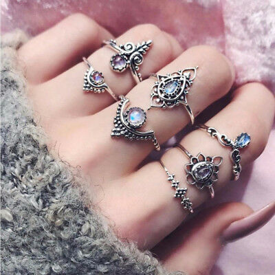 7pcs/Set Antique Silver Color Crystal Finger Rings For Women Fashion Party