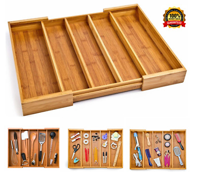 Expandable Extending Large Bamboo Compartment Kitchen Utensil Drawer Organizer