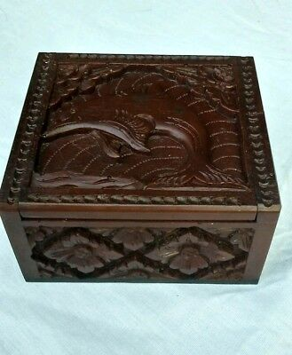 Carved Wooden wood  Sap Jewelry Box Bali Indonesia