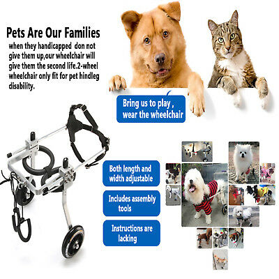 S/M/L Stainless Steel Dog Wheelchair For Handicapped Hind Legs Cat Dog