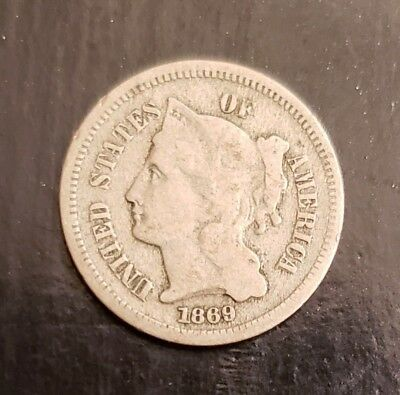 1869 Three 3-Cent Nickel | G to VG Condition
