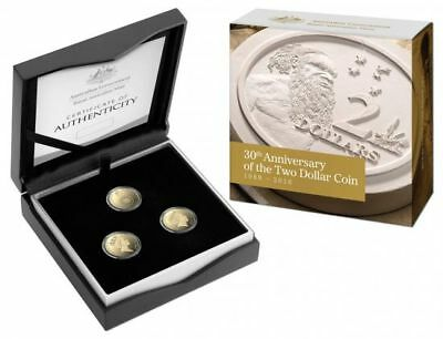 2018 $2 Coin 30Th Anniversary Set Of Three (3) Proof Set- Rare Only 1988 Issued