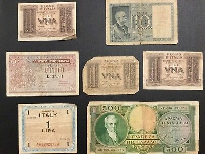 Vintage Foreign Mixed Money Currency Bank Note Lot of 7/ Incl Biglietto Di Stato