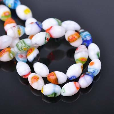 20pcs 8*12mm Oval Shape Millefiori Glass Loose Spacer Beads Random Mixed