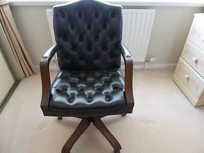 Vintage Green Chesterfield Gainsborough Leather Office Desk Chair Swivel