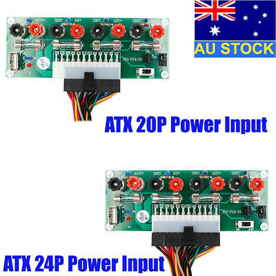 AU 20/24 Pins ATX Benchtop PC Power Breakout Module Adapter with USB 5V Port