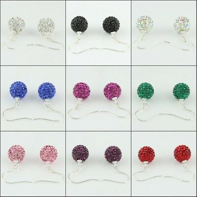 Sparkle Czech Crystal Round Disco Ball 925 Sterling Silver Hook Earrings 10mm