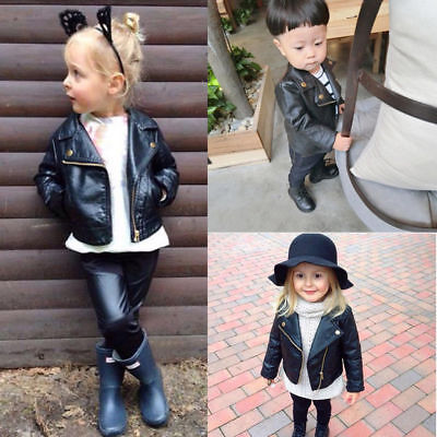 Autumn Winter Child Girl Boy Kids Baby Outwear Leather Coat Short Jacket Clothes