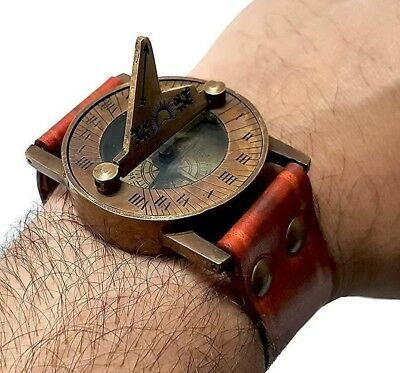 Retro Steampunk Wrist Band Sundial Compass & Watch Type Vintage Maritime Gift