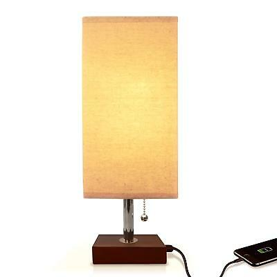 Bedside Table Lamp USB, Aooshine Modern Desk Lamp, Solid Wood Nightstand Lamp