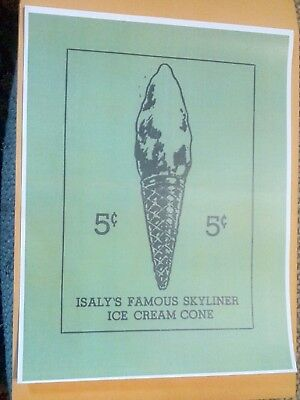 Old Isaly's Dairy Famous Skyliner Skyscraper 5 Cent Ice Cream Cone Advertising