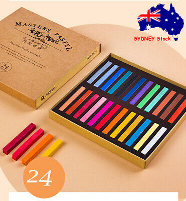 24 Color Soft Pastel Artist Chalk Full Length Square Stick High-Quality Pigments