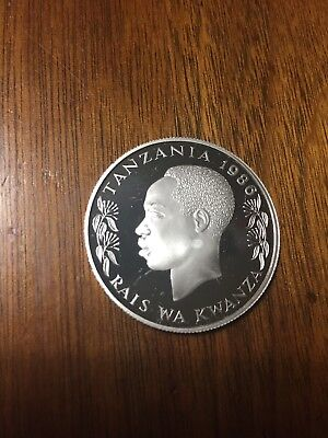 100 Shillings Proof Tanzania 1986 'The elephant' Silver coin Rare