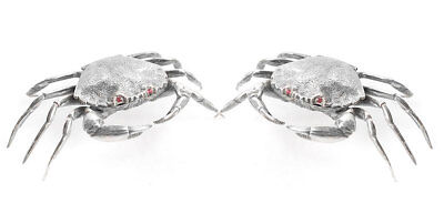 Pair of Matching Spanish Solid Silver Crab Salt / Snuff Boxes with Hinged Lids