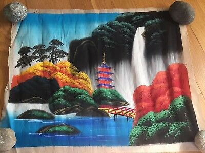 Vintage Japanese pagoda mountains Cloth Painting 14 X 18
