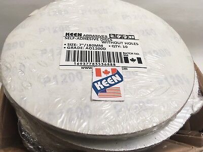 "Box Of 100- 1200 Grit 7"" Sticky Face Tabbed  Sanding Disc KEEN ABRASIVES 36888"