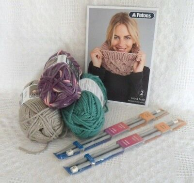 Knit Your Own Scarf Kit SUPER CHUNKY KNITTING WOOL 200g Needles PATTERN SNOOD