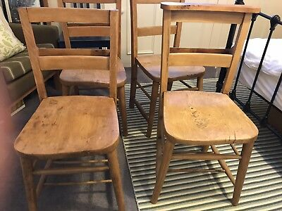 4 x Vintage Original Church Chapel Chairs