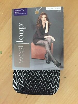 330ed36c06234 WEST LOOP FASHION Tights Ribbed Control Top Size S/M Black FREE SHIP ...