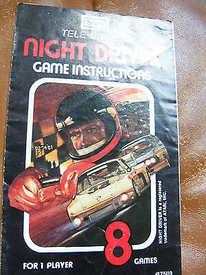 Atari Tele-games Night Driver Game Program Instruction Booklet Manual only
