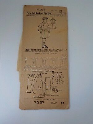 1907 Antique Sewing Pattern Boys' Double-Breasted Coat 12 Years