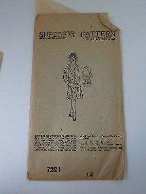 Antique 1920's Superior Pattern Sears Girl's Slip-on Dress Pattern
