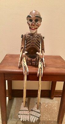 Vintage Mexican Folk Art Hand Carved Wood Skeleton Jointed 28""