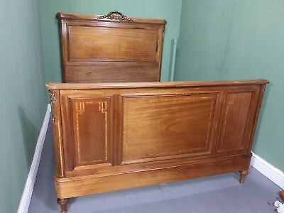 An Antique Early 20th Century Mahogany Continental Double Bed Frame ~Delivery Av