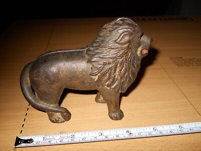 Vintage 1900's Cast Iron Lion Still Bank Tail on Right