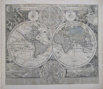 Original 1707 Homann DOUBLE-HEMISPHERE WORLD MAP California as Island Windheads