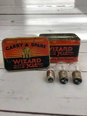 VINTAGE WIZARD Auto Bulb Kit Tin - WESTERN AUTO Stores Gas Oil Auto Advertising