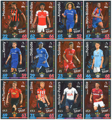 Match Attax 2018/19 Rising Star 12 Card Full Complete Set - Base