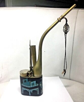 Antique Chinese  Cloisonne brass smoking water pipe