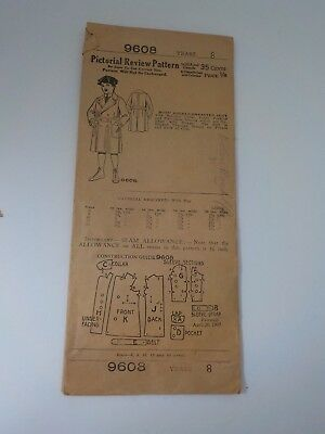 1907 Pictorial Review Pattern Boys' Double-breated Coat 8 Yers