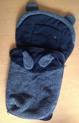 Black/Grey Cosy Toes Fleece For Pushchair/Buggy, Mothercare, Used
