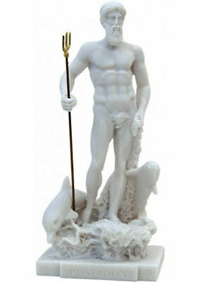 Ancient Greek God of the Sea Poseidon Alabster statue / sculpture 26cm / 10.23in