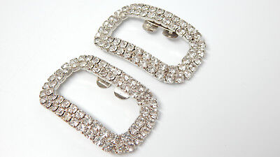 💕 Hollywood Deco Crystal Rhinestone Silver Open Curved 'buckle' Shoe/dress Clip