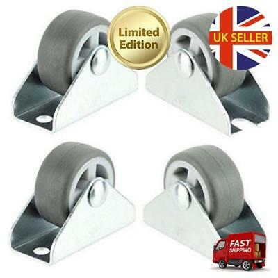 Spares2go Universal Castor Wheels Fixed Plate Fixing 1'' Mini Wheel (32mm, Pack